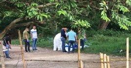 Funcionarios de la Fiscalía y la Policía investigan el asesinato de los hermanos Pechene Arteaga.