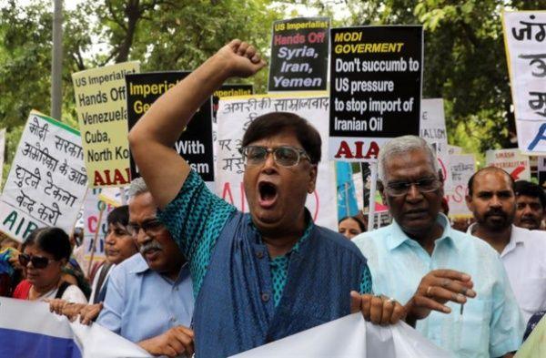 India protestas Pompeo