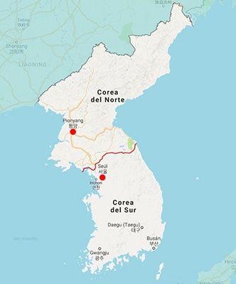 Resultado de imagen de corea del norte y del sur mapa