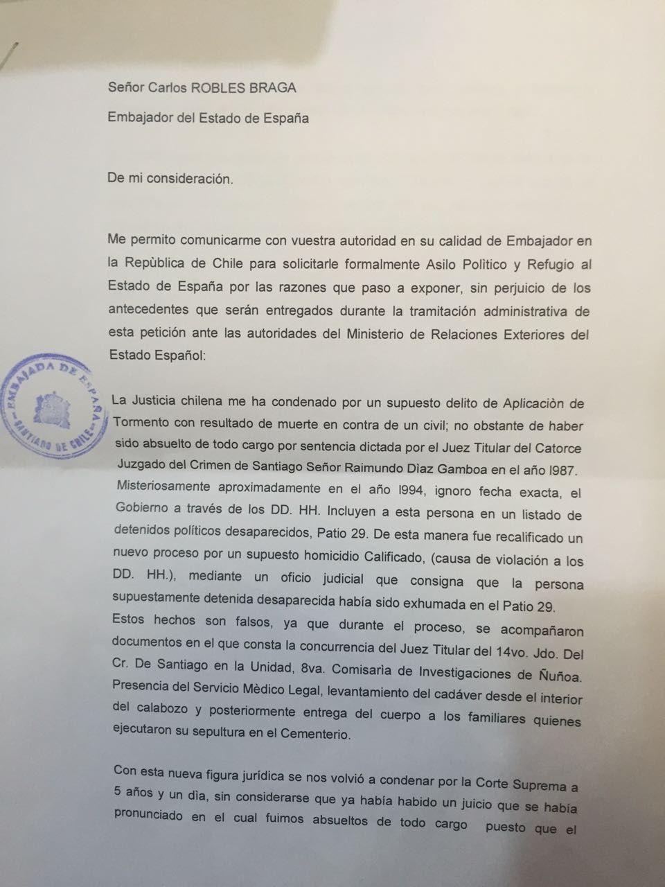 exagente de dictadura chilena pide asilo a espa u00f1a y es