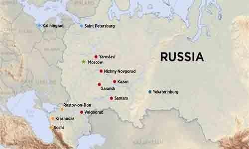 Mapa de las sedes del mundial Rusia 2018