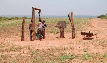 A well of water in the middle of soy fields, on an indigenous land.