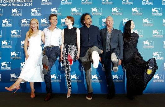 Director Alejandro Inarritu (3rd R) poses with actors Amy Ryan (L), Edward Norton (2nd L), Emma Stone (3rd L), Michael Keaton (2nd R) and Andrea Riseborough (R) during the photo call for the movie