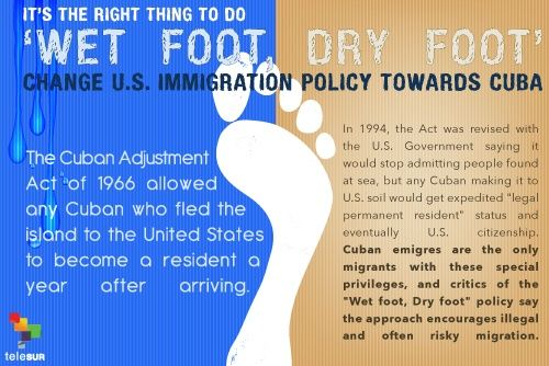 """wet foot dry foot The end of the """"wet foot, dry foot"""" policy, which allowed any cuban who reached us soil to stay, but returned any picked up at sea, took effect immediately."""