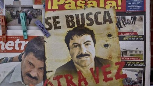 "A wanted poster for Mexican drug lord Joaquin ""El Chapo"" Guzman."