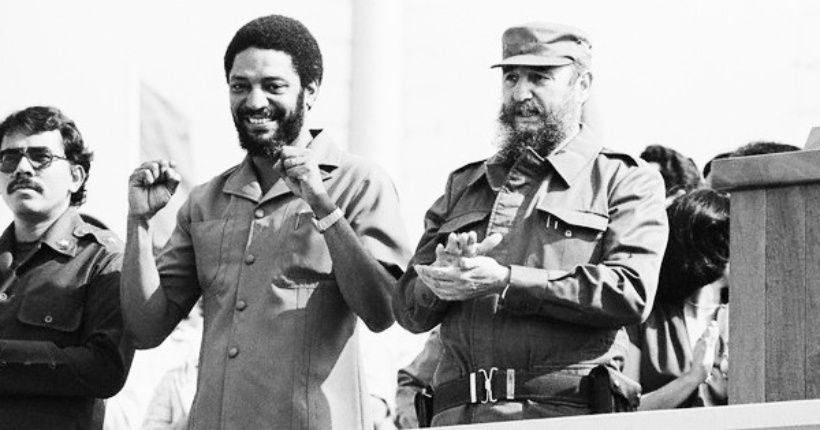 Nicaraguan President Daniel Ortega (L), Grenadian Prime Minister Maurice Bishop (R), and Cuba's Fidel Castro preside over a May Day rally in Havana, Cuba, May 1, 1980.