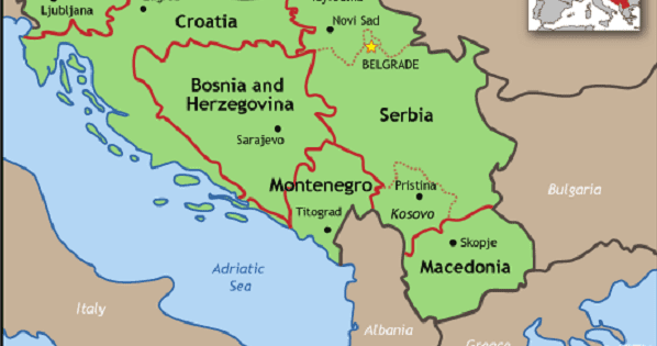 Us nato lie to justify genocide and destruction in yugoslavia map outlining the states of former yugoslavia including kosovo photo international criminal tribunal gumiabroncs Choice Image