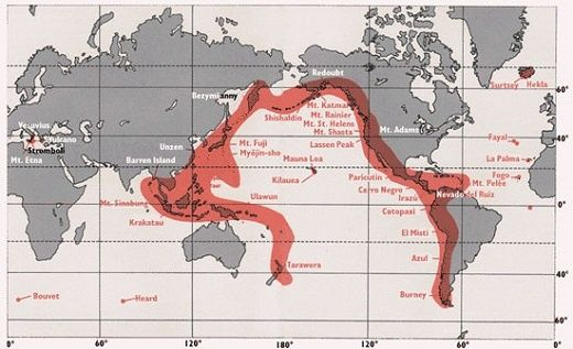 japan and ecuador are on the ring of fire a long chain of volcanoes and other tectonically active structures surrounding the pacific