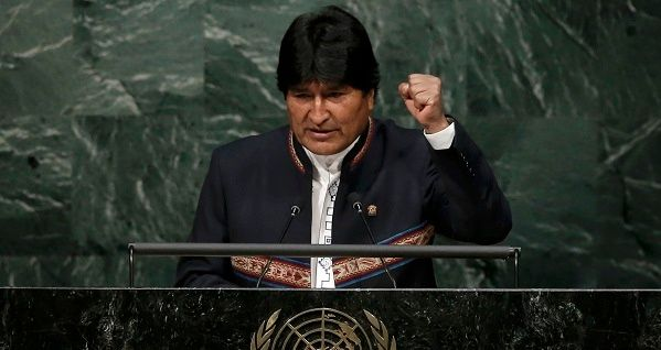 Bolivian President Evo Morales delivers his remarks at the Paris Agreement signing ceremony on climate change at the United Nations Headquarters in New York.