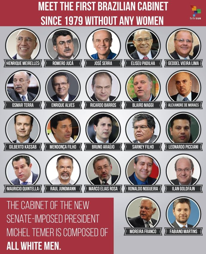 Brazil's New Coup-Imposed Government Set to Be All White Men ...