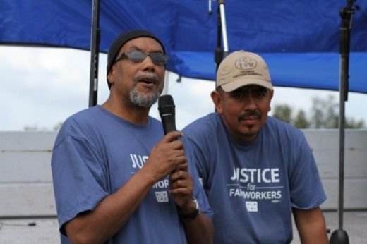 "Ajamu Baraka (left) speaks in support of the Coalition of Immokalee Workers | Photo: AjamuBaraka.com. """