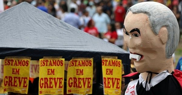 An effigy of Brazil's President Temer. Reuters