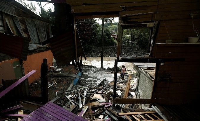 House damaged by storm near San Jose, Costa Rica