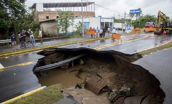 Storm damage on road in Rivas, Nicaragua