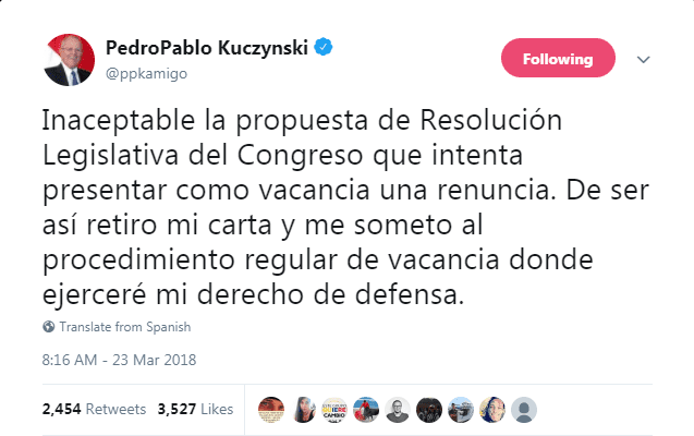 Peru kuczynskis resignation accepted as vizcarra sworn in news proposed legislative resolution of congress which seeks to present a waiver as a vacancy if it remains that way ill withdraw my resignation letter expocarfo Gallery