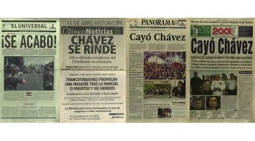 April 2002: Venezuelan corporate media celebrates the coup against democratically elected President Hugo Chavez